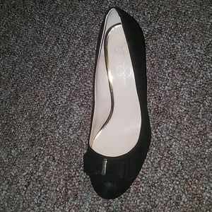 Jessica Simpson black wedge left shoe